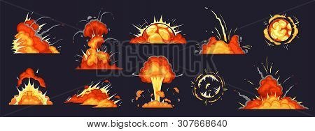 Cartoon Bomb Explosion. Dynamite Explosions, Danger Explosive Bomb Detonation And Atomic Bombs Cloud