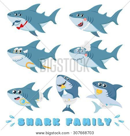 Cartoon Sharks Family. Newborn Baby Shark, Comic Marine Father And Cheerful Mother Sharks Characters