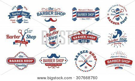 Barbershop Badges. Vintage Barber Label, Retro Shave Salon Badge And Gentleman Haircut Old Sign. Bar