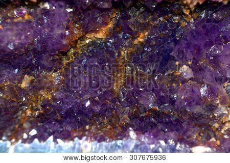 Deep Violet Amethyst Geode Close Up View, Amethyst Quartz Natural Crystal Gemstone Macro Shot Purple