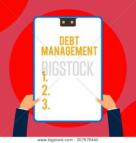 Text sign showing Debt Management. Conceptual photo The formal agreement between a debtor and a creditor Two executive male hands holding electronic device geometrical background. poster