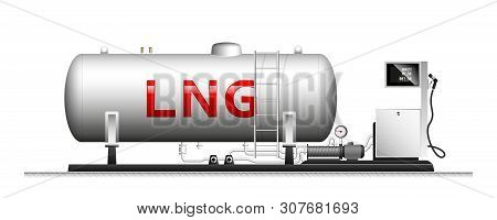 Automotive Modular Filling With Liquefied Gas. Large Cylindrical Cylinder With Natural Gas. Column W