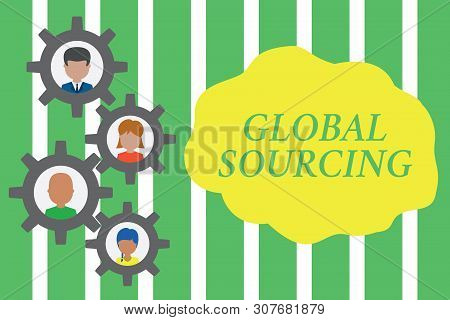 Handwriting text Global Sourcing. Concept meaning practice of sourcing from the global market for goods Gearshaped picture frame family ornament mother father daughter son photo. poster