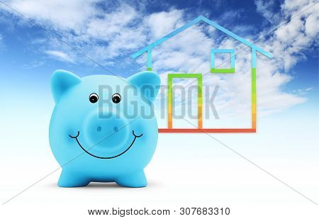 Piggy Bank With House Shape Isolated On Blue Sky Background, Green Building And Energy Save Concept