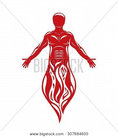 Vector Illustration Of Human Being Standing. Hephaestus Creative Metaphor.