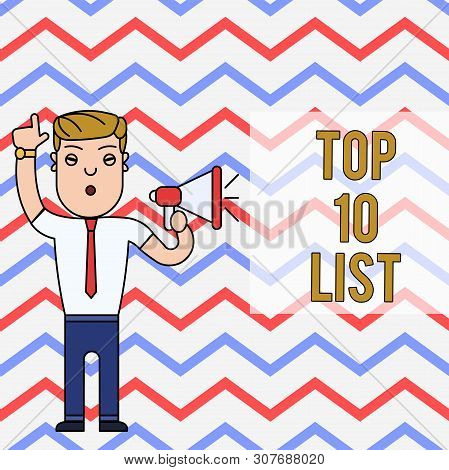 Word Writing Text Top 10 List. Business Concept For The Ten Most Important Or Successful Items In A