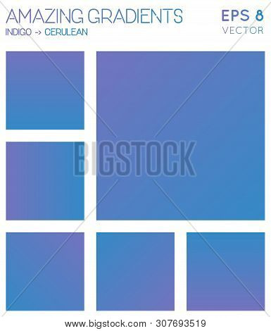 Colorful Gradients In Indigo, Cerulean Color Tones. Actual Background, Likable Vector Illustration.