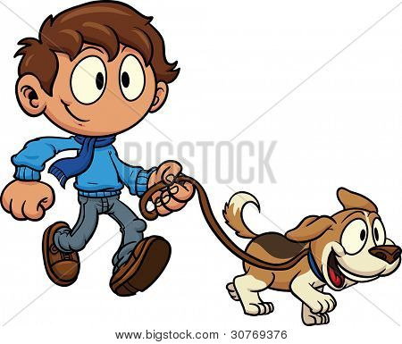 Kid walking dog. Vector illustration. All in a single layer.