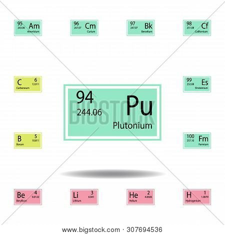 Periodic Table Element Plutonium Color Icon. Set Of Chemical Sign Color Icon. Signs And Symbols Coll