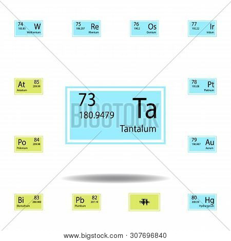 Periodic Table Element Tantalum Color Icon. Set Of Chemical Sign Color Icon. Signs And Symbols Colle