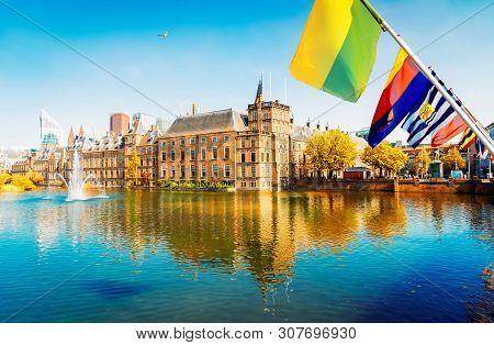 Binnenhof - Dutch Parliament With Netherlands Flags, The Hague, Holland At Fall