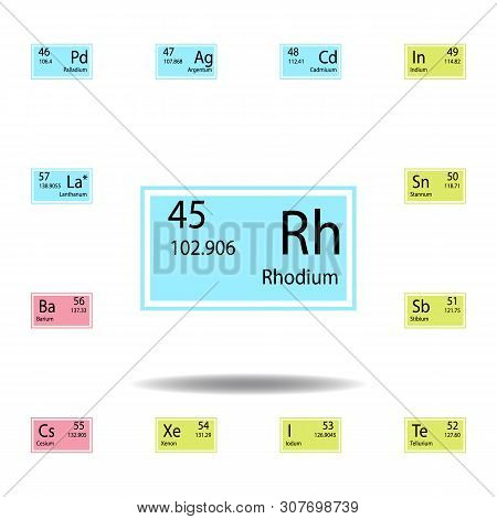 Periodic Table Element Rhodium Color Icon. Set Of Chemical Sign Color Icon. Signs And Symbols Collec