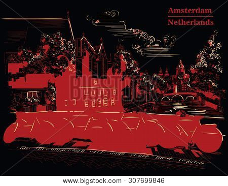 Bicycles On Bridge Over The Canals Of Amsterdam, Netherlands. Landmark Of Netherlands. Vector Hand D