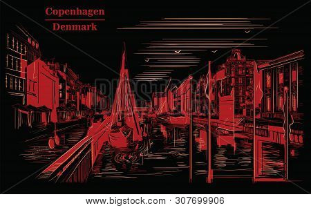 Pier Nyhavn in Copenhagen, Denmark. Landmark of Denmark. Vector hand drawing illustration in red color isolated on black background. poster