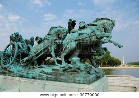 Ulysses S. Grant Cavalry Memorial in front of Capitol Hill in Washington DC, United States