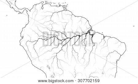 World Map Of The Amazon Selva Region In South America: Amazon Selva, Orinoco Llanos, Brazil, Venezue