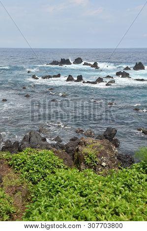 Big Island Hawaii Rugged Coastline Formed By Volcanic Rocks