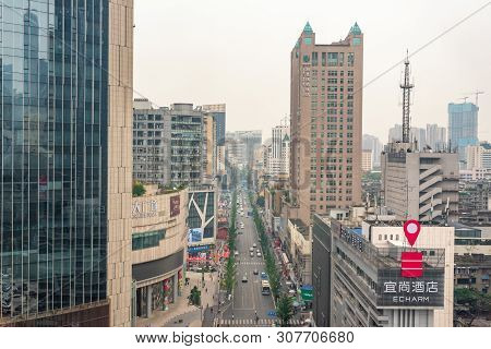 Chengdu, Sichuan Province, China - June 6, 2019 : Taishengnanlu Street With A Large Number Of Mobile