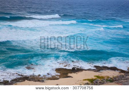 Stormy sea on the southern part of Cozumel, Mexico