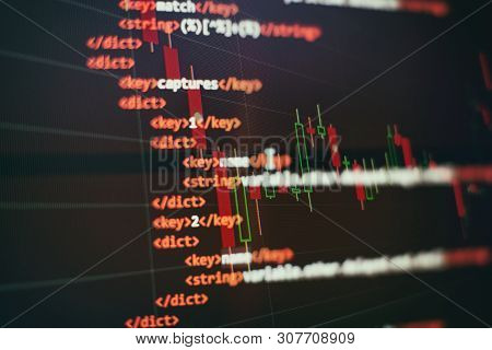Abstract Computer Script Code. Programming Code Screen Of Software Developer. Software Programming W
