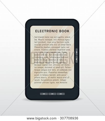 Ebook Opened On Tablet Screen Isolated On White Background. E-book Reading Using Reader, Mobile App.