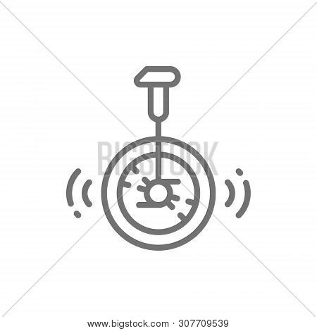 Unicycle, Bike, Circus Line Icon. Isolated On White Background