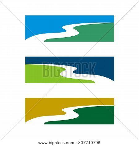 Creek Or River Logo Template Illustration Design. Vector Eps 10.