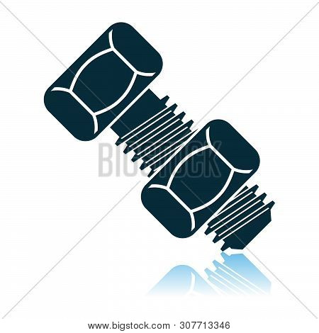 Icon Of Bolt And Nut. Shadow Reflection Design. Vector Illustration.