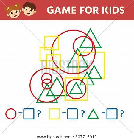 Education logic game for preschool kids. Kids activity sheet. Count the number  geometric figures. Children funny riddle entertainment. Vector illustration poster