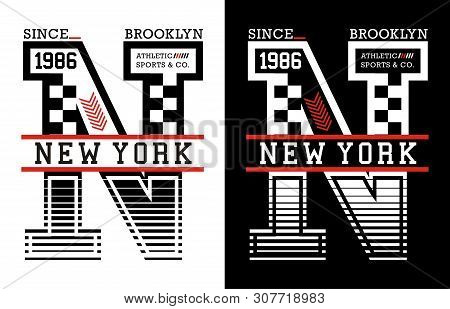 New York Vintage Varsity Graphics And Emblem With Background.
