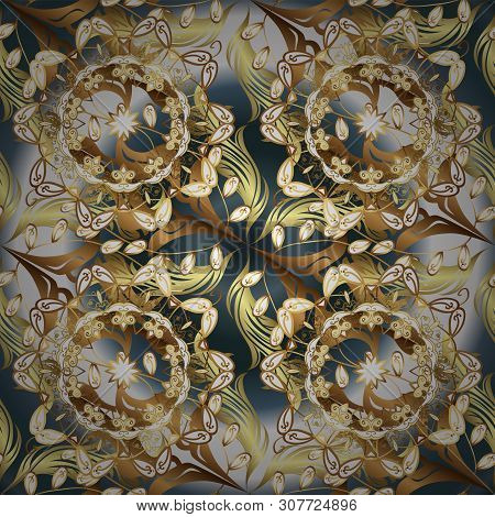 Seamless Beautiful Fabric Pattern. Doodles Gray And Brown On Colors. Vector.