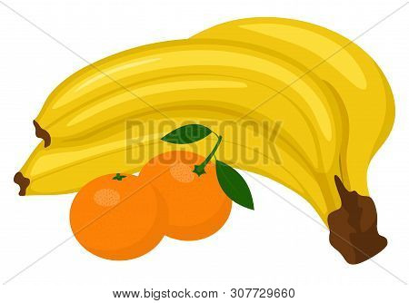 Bunch Of Bananas And Tangerine Or Clementine With Green Leaf Isolated On White Background. Vector Il