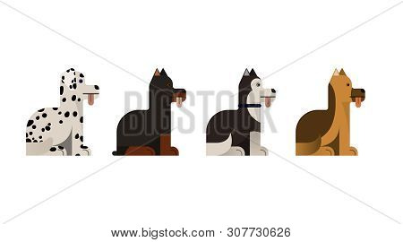 Dogs Sit. Doberman, Shepherd, Husky And Dalmatian Gives A Paw. Vector Illustration. Flat Icons Set.