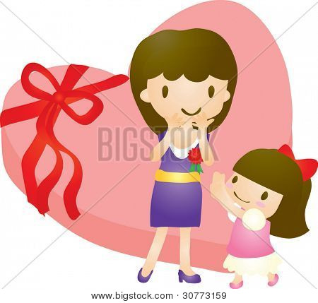Happy Smiling Young Woman and lovely little girl with red carnation corsage on white background