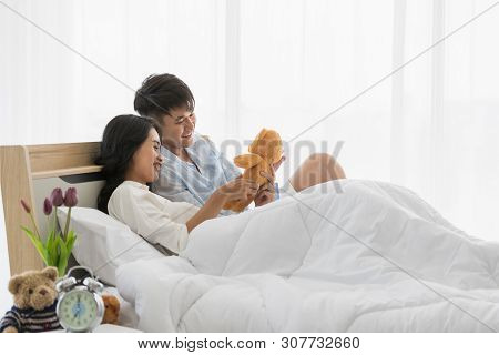 Asian Teenagers Being Together Happily On The Bed, Concept For Love, Spending Time Together And The