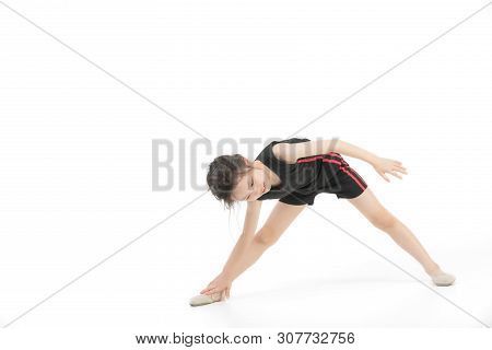 Cute Asian Girl In Sportswear Do A Exercise, Studio Shot On White Background. Concept For Healthy Ki