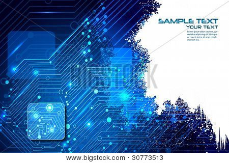 illustration of high tech futuristic background with circuit board