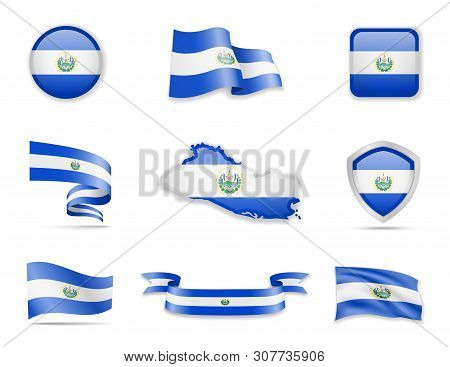 El Salvador Flags Collection. Vector Illustration Set Flags And Outline Of The Country.