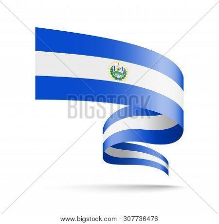 El Salvador Flag In The Form Of Wave Ribbon.