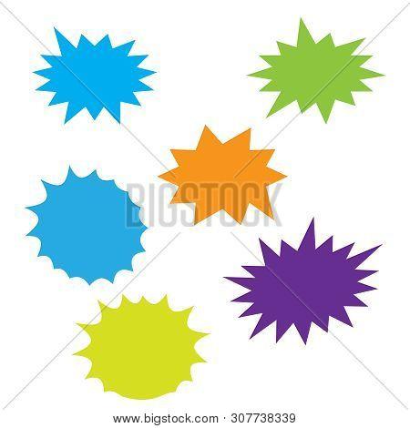 Starburst Speech Bubbles Set. Bursting Icon. Starburst Isolated Icons Set