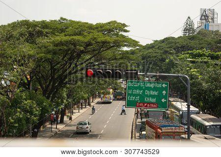 Bangalore, Karnataka India-june 04 2019 :aerial View Of Bengaluru City Traffic Signal In Red Near To