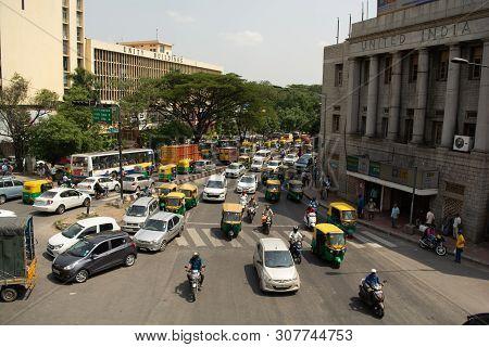 Bangalore, Karnataka India-june 04 2019 : Bengaluru City Traffic Near Town Hall, Bengaluru, India