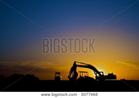 Construction Equipmen In Silhouette Horizontal