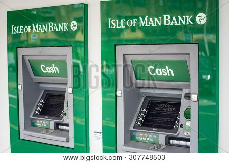 Douglas, Isle Of Man, June 16, 2019. Cash Machines.the Isle Of Man Bank Is A Bank In The British Cro