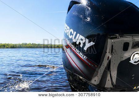 Helsinki, Finland, May 20, 2019: Modern New Fishing Sport Boat With A Brand New Mercury Fourstroke O