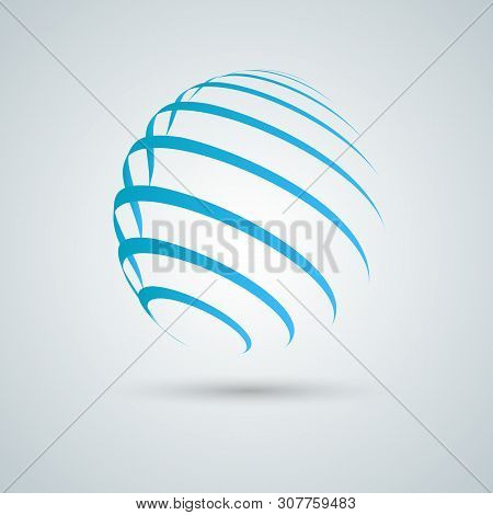 Abstract Sphere Icon. Vector Design With Twirl Line