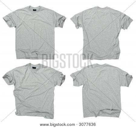Blank Grey T-Shirts Front And Back