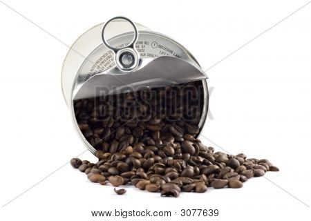 Coffee Beans In Tin Can Isolated On White Background