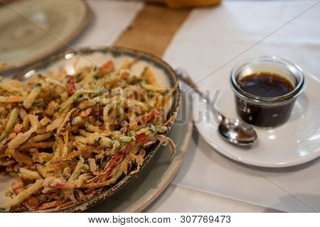 Rich Tempura Dish With Soy Sauce With Accompanying Honey, Healthy Food And Nutritiba.