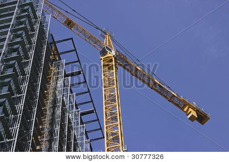 Construction Crane with Building